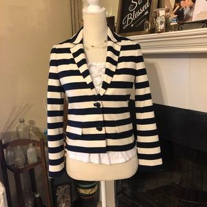 Tory Burch Navy and White Striped Blazer
